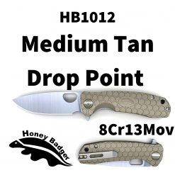 HB1012 Honey Badger Drop Point Flipper Medium Tan 8Cr13MoV