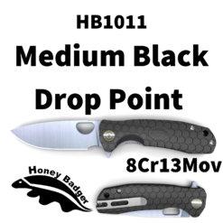 HB1011 Honey Badger Drop Point Flipper Medium Black 8Cr13MoV