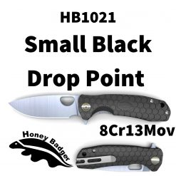 HB1021 Honey Badger Drop Point Flipper Small Black 8Cr13MoV