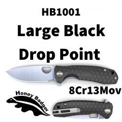 HB1001 Honey Badger Drop Point Flipper Large Black 8Cr13MoV