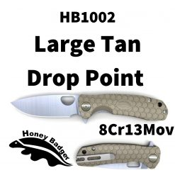 HB1002 Honey Badger Drop Point Flipper Large Tan 8Cr13MoV