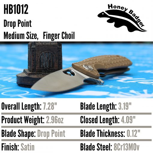 HB1012 Honey Badger Drop Point Flipper Medium Tan 8Cr13MoV