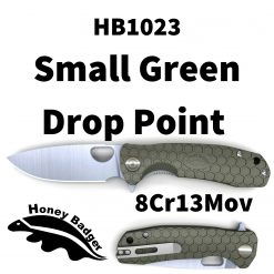 HB1023 Honey Badger Drop Point Flipper Small Green 8Cr13MoV