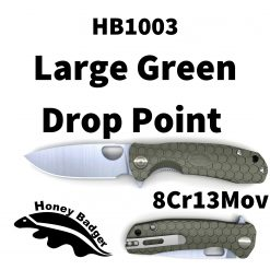 HB1003 Honey Badger Drop Point Flipper Large Green 8Cr13MoV