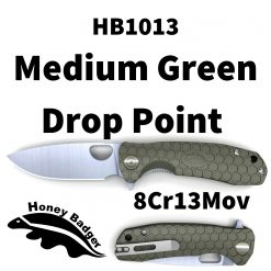 HB1013 Honey Badger Drop Point Flipper Medium Green 8Cr13MoV