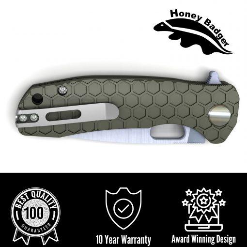 HB1003 Honey Badger Drop Point Flipper Large Green 8Cr13MoV