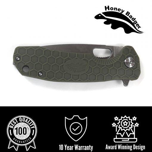 HB1013 Honey Badger Drop Point Flipper Medium Green 8Cr13MoV