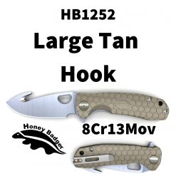 HB1252 Honey Badger Hook Flipper Large Tan 8Cr13MoV