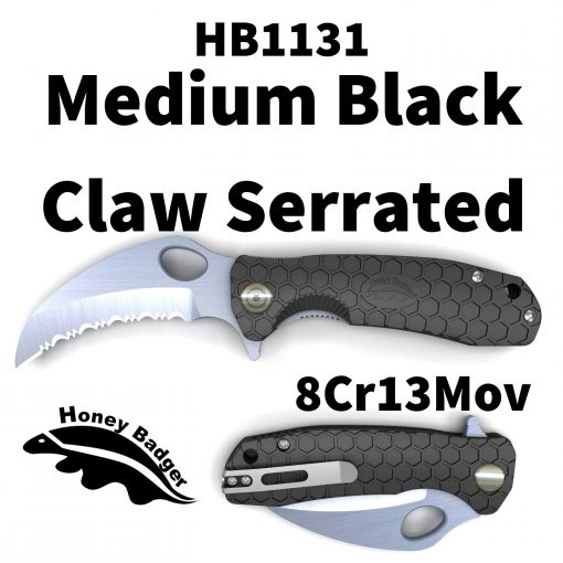 HB1131 Honey Badger Claw Serrated Flipper Medium Black