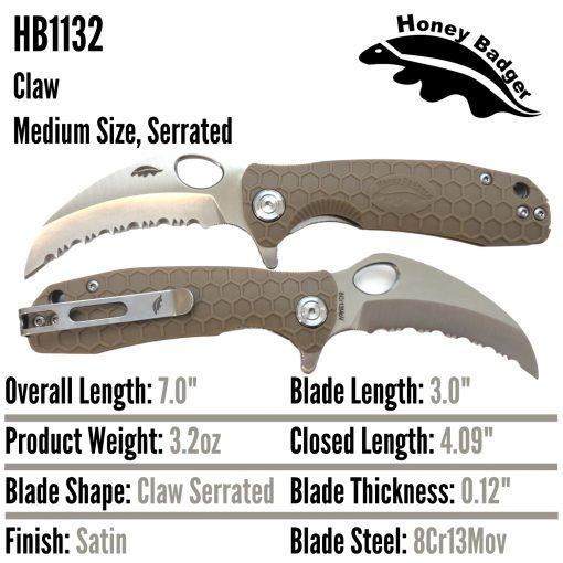 HB1132 Honey Badger Claw Serrated Flipper Medium Tan