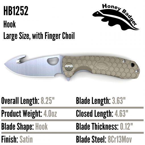 HB1252 Honey Badger Hook Flipper Large Tan 8Cr13MoV