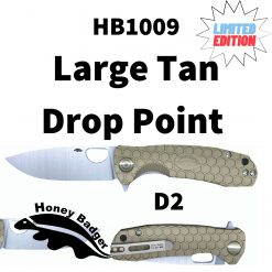 HB1009 Honey Badger D2 Drop Point Flipper Large Tan