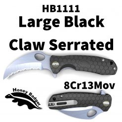 HB1111 Honey Badger Claw Flipper Large Black Serrated 8Cr13MoV