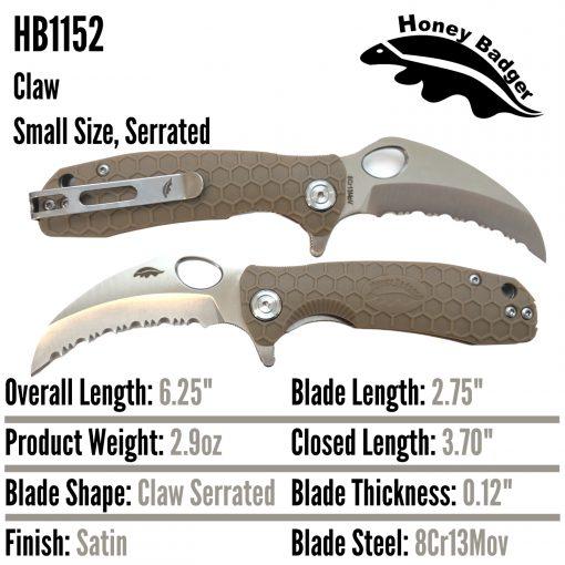 HB1152 Honey Badger Claw Flipper Small Tan Serrated 8Cr13MoV