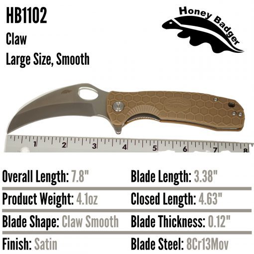 HB1102 Honey Badger Claw Flipper Large Tan Plain 8Cr13MoV