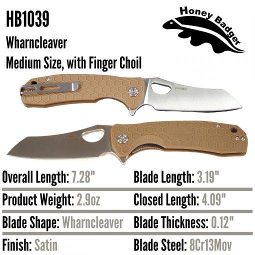 HB1039 Honey Badger Flipper Wharncleaver Medium Tan 8Cr13Mov by Western Active