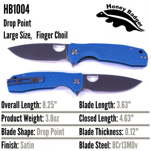 HB1004 Honey Badger Flipper Large Blue 8Cr13Mov