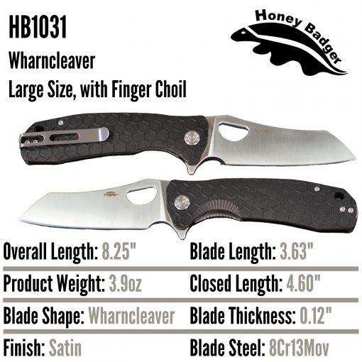 HB1031 Honey Badger Flipper Wharncleaver Large Black 8Cr13Mov