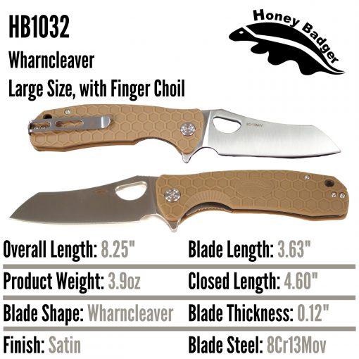 HB1032 Honey Badger Flipper Wharncleaver Large Tan 8Cr13Mov