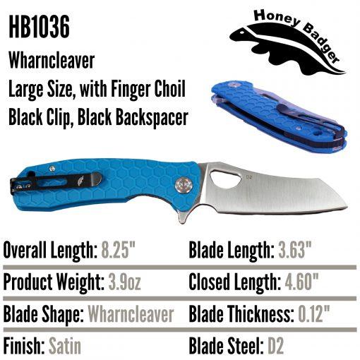 HB1036 Honey Badger Flipper Wharncleaver Large Blue D2 Steel