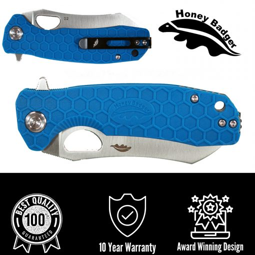 HB1043 Honey Badger Flipper Wharncleaver Medium Blue D2 Steel