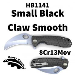 HB1141 Honey Badger Claw Flipper Small Black Plain 8Cr13MoV