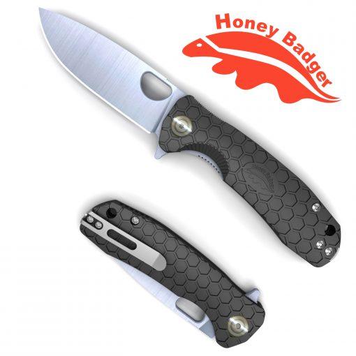 HB1026 Honey Badger Flipper Small Black No Choil D2