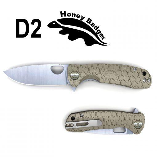 HB1027 Honey Badger Flipper Small Tan No Choil D2