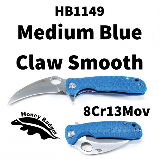 HB1149 Honey Badger Claw Smooth Flipper Medium 8Cr13Mov Blue