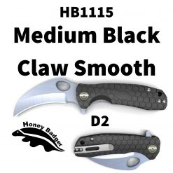 HB1115 Honey Badger Claw Smooth Flipper Medium Black D2 Steel