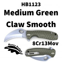HB1123 Honey Badger Claw Smooth Flipper Medium 8Cr13Mov Green