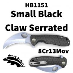 HB1151 Honey Badger Claw Flipper Small Black Serrated 8Cr13Mov