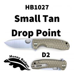 HB1027 Honey Badger Flipper Small Tan No Choil D2