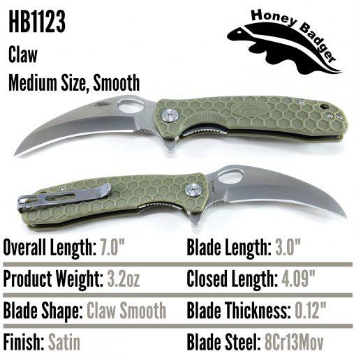 HB1123 Honey Badger Claw Smooth Flipper Medium 8Cr13Mov Green