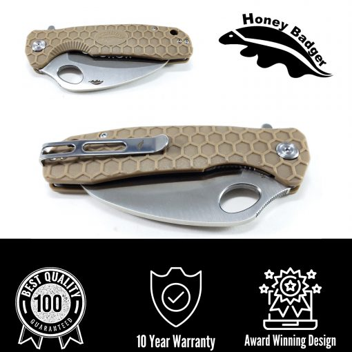 HB1112 Honey Badger Claw Flipper Large Tan Serrated 8C13Mov