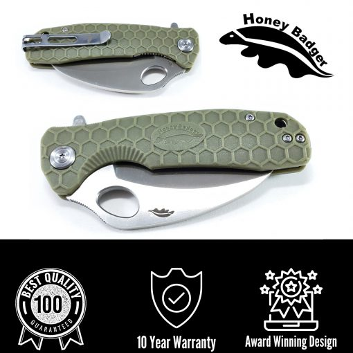 HB1133 Honey Badger Claw Serrated Flipper Medium 8Cr13Mov Green