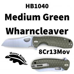 HB1040 Honey Badger Flipper Wharncleaver Medium Green 8Cr13Mov Western Active
