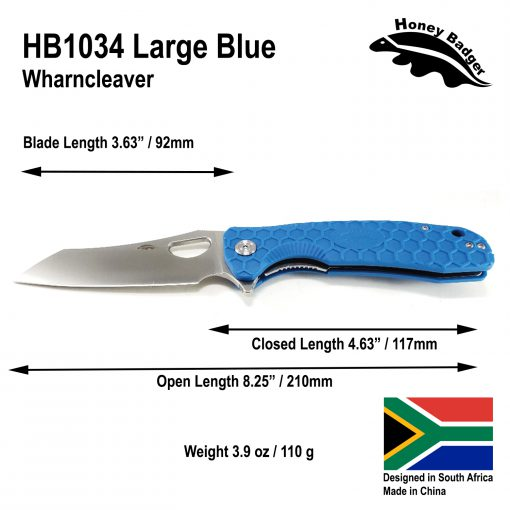 HB1034 Honey Badger Flipper Wharncleaver Large Blue 8Cr13Mov Steel