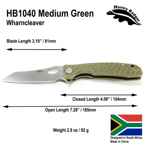 HB1040 Honey Badger Flipper Wharncleaver Medium Green 8Cr13Mov