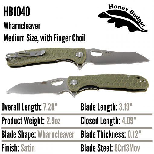 HB1040 Honey Badger Flipper Wharncleaver Medium Green 8Cr13Mov Western Active