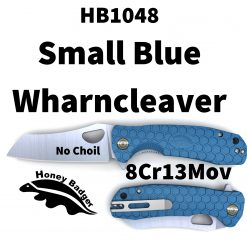 HB1048 Honey Badger Flipper Wharncleaver Small Blue No Choil 8Cr13Mov