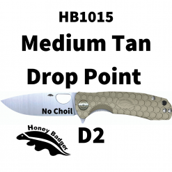 HB1015 Honey Badger Drop Point Flipper Medium Tan No Choil D2