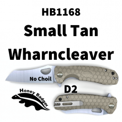 HB1168 Honey Badger Flipper Wharncleaver Small Tan No Choil D2