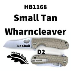 HB1168 Honey Badger Flipper Wharncleaver Small Tan No Choil D2