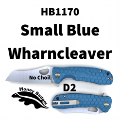 HB1170 Honey Badger Flipper Wharncleaver Small Blue No Choil D2