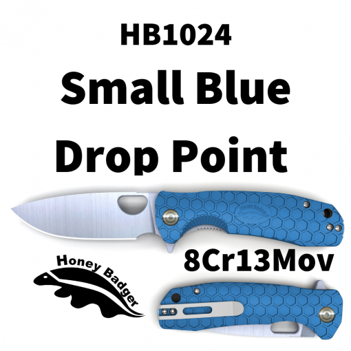 HB1024 Honey Badger Drop Point Flipper Small Blue 8Cr13Mov