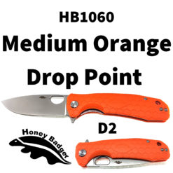 Honey Badger Knives EDC Pocket Knife HB1060 Orange D2