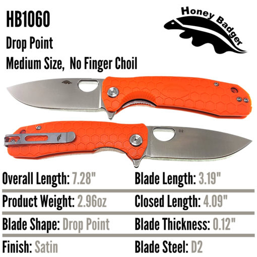 Honey Badger Knives EDC Pocket Knife HB1060 Orange D2